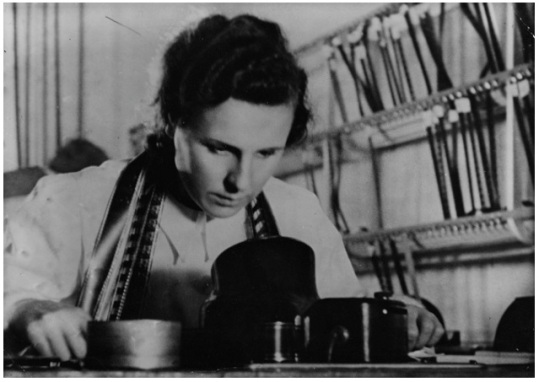 Riefenstahl editing her work. TRIUMPH OF THE WILL had over 60 hours of footage.